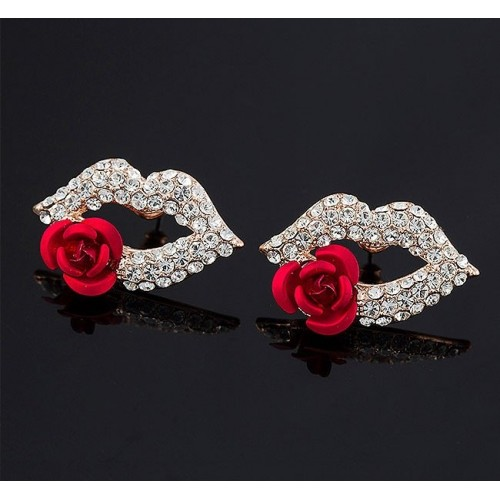 Mouth Red Rose Flower Stud Earrings