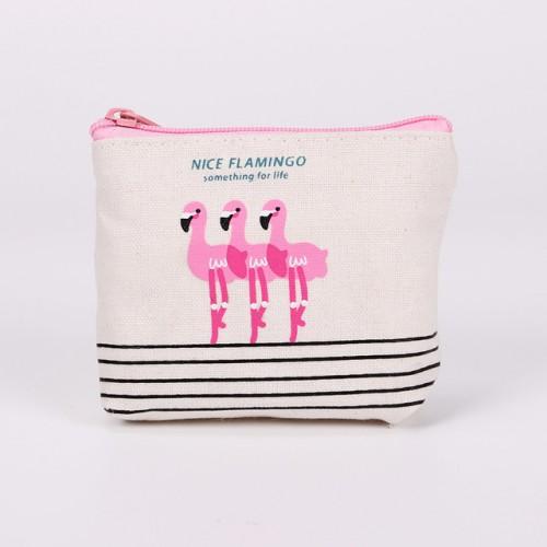 New Cute Purses Cartoon Bird Flamingos Canvas Coin Purses Wallet High Performance Price Ratio Zipper Card Bag