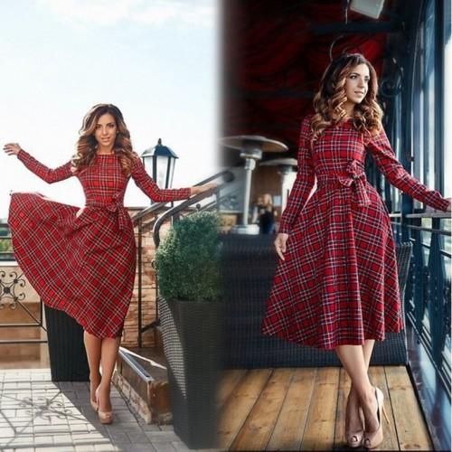 Red plaid dress vestidos