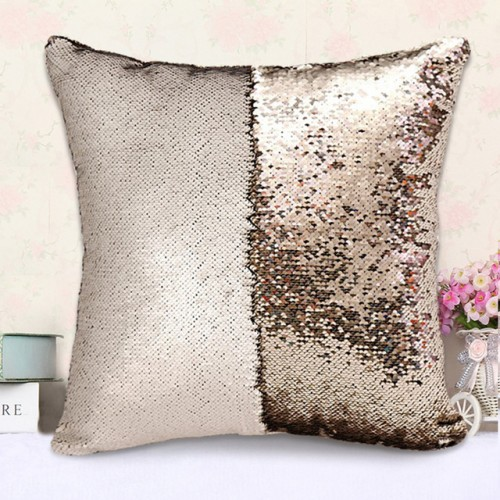Matte Gold Mermaid Sequin Cushion Cover Magical Shining Pillow Case Patchwork Decorative Sofa Car Fashion 40X40cm