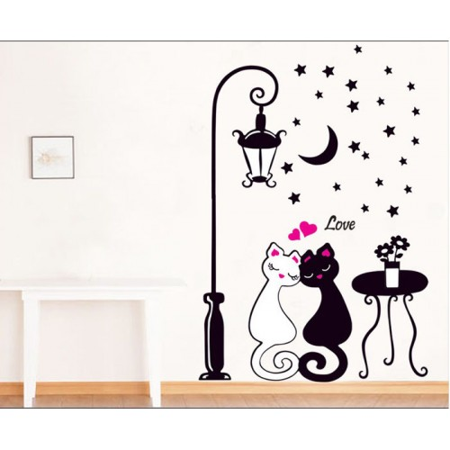 Cat Wall Decor For Kids Room Lamp and Butterflies Decals Removable Cartoon Sticker