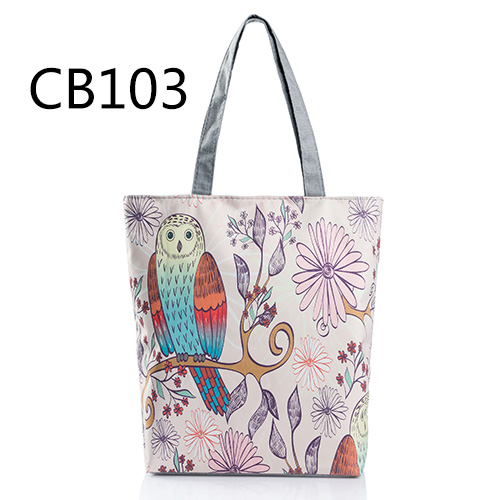 Floral And Owl Printed Women's Casual Tote Daily Use Shopping Bag
