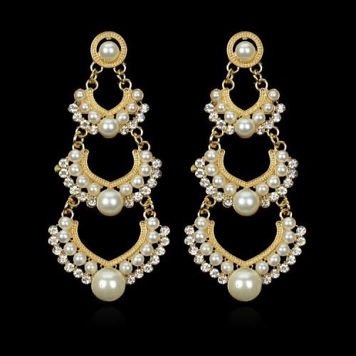 Pearl Gold Plated Dangle Earrings