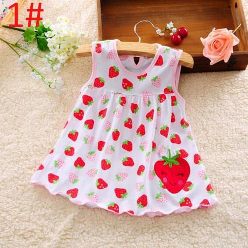 Cute Strawberry Design Cotton Frock