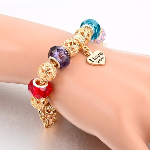 Pandora Bracelet With Heart Charms Beads Multicolor 2
