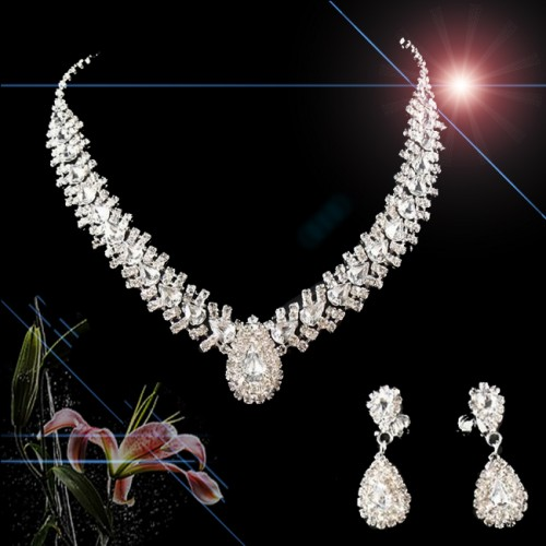 Women Wedding Jewelry Bridal Bridesmaid Party Crystal Set