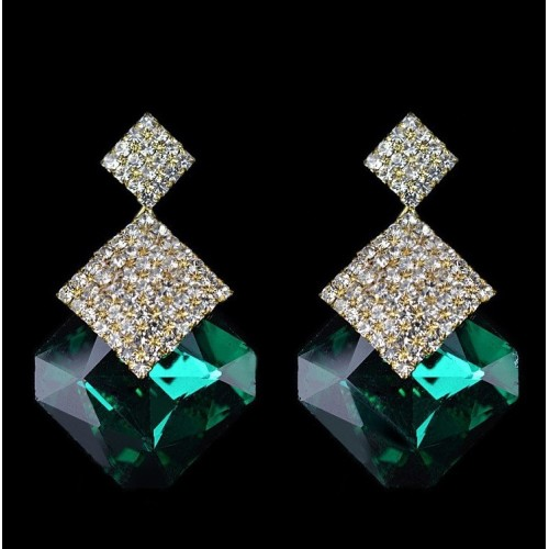 Crystal Luxury Stud Earrings Green