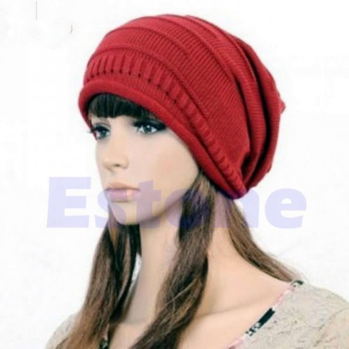 Red Winter Unisex Oversized Slouch Cap Plicate Baggy Beanie Knit Crochet Ski Hat
