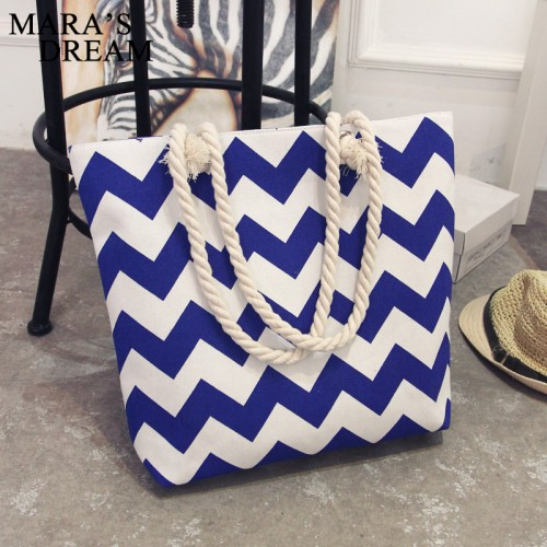 Blue Casual Women Floral Large Capacity Tote Canvas Shoulder Bag Shopping Bag Beach Bags