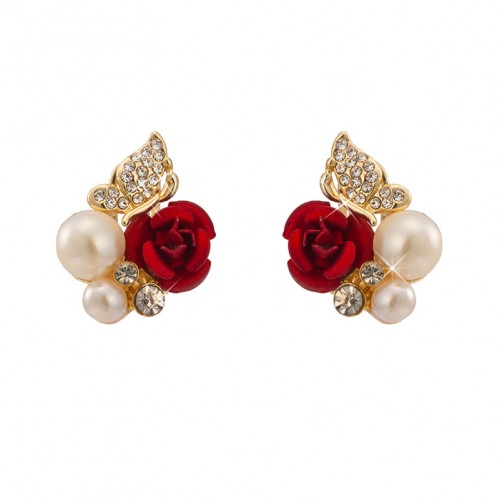 Red Rose Pearl Stud Earrings