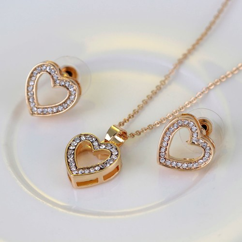 Heart Jewelry Sets Necklace Bracelet Bangle Earring Ring
