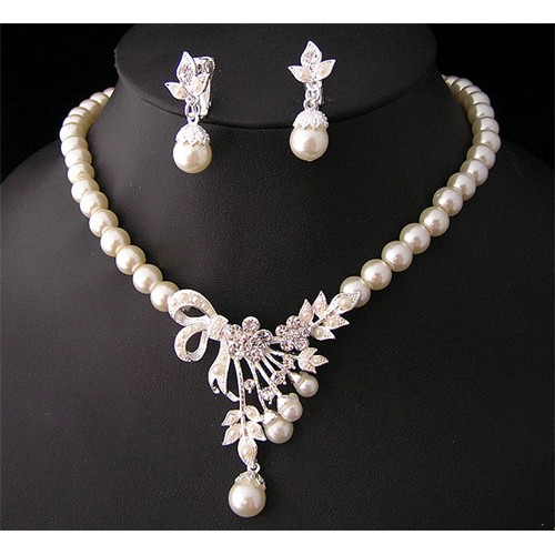 Crystal Pearl Jewelry Set