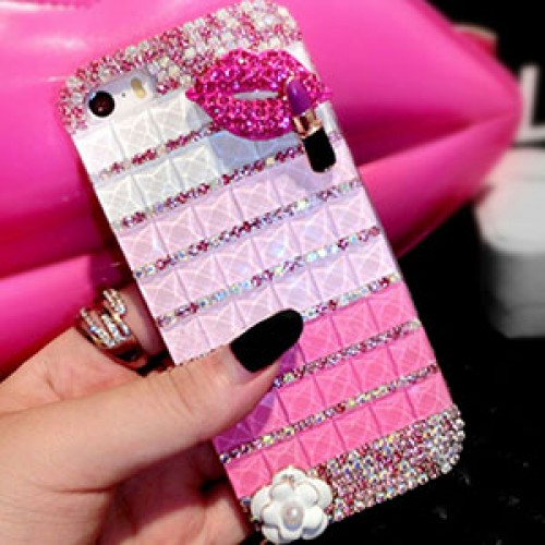 Pink Lips Fashion Bling Crystal Pearl Rhinestone Hard Clear Case Cover Transparent For Samsung and iPhone