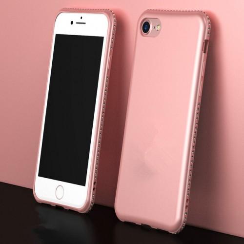 Rose Gold MaxGear Rhinestone Silicone Case Glitter Matte Luxury Diamond Cover For iPhone