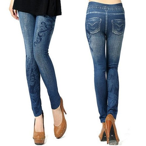 Jeans Look High Waist Tights Stretch Skinny Leggings Blue