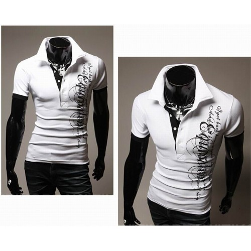 Letters Printed Men's Sports Shirt White