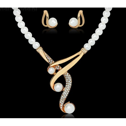 Unique Fashion Pearls Rhinestones Jewellery Set
