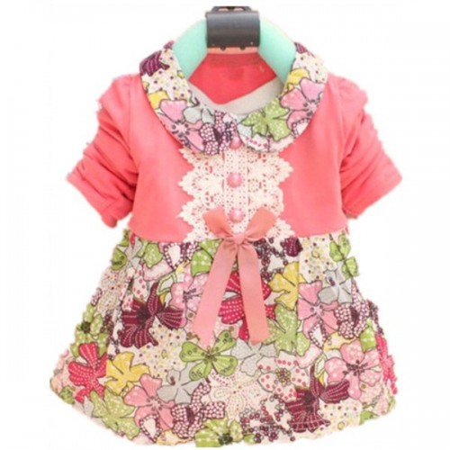 Baby Girls Floral Kids Dress Red