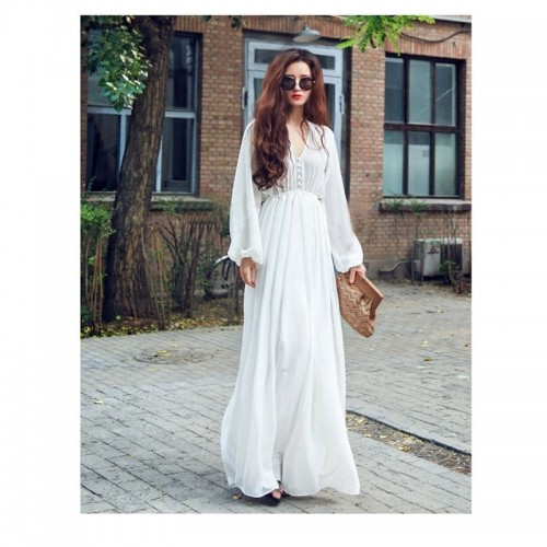 Fashionable White Long Chiffon Maxi Dress