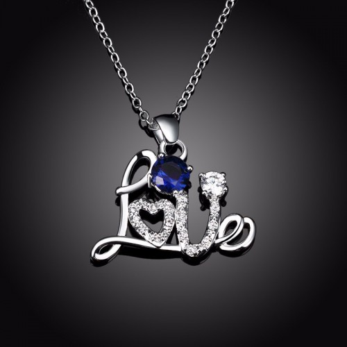 Silver Plated Chain Love Pattern Necklace Blue
