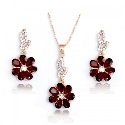 Fashion Flower Pendant Set 18k Gold Filled White Red Crystal