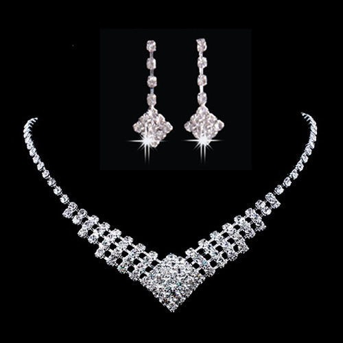 Crystal Rhinestone Necklace Earring Set