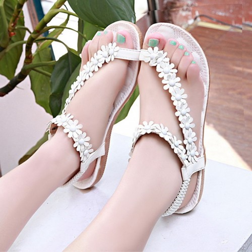 Flower Thong White Sandal