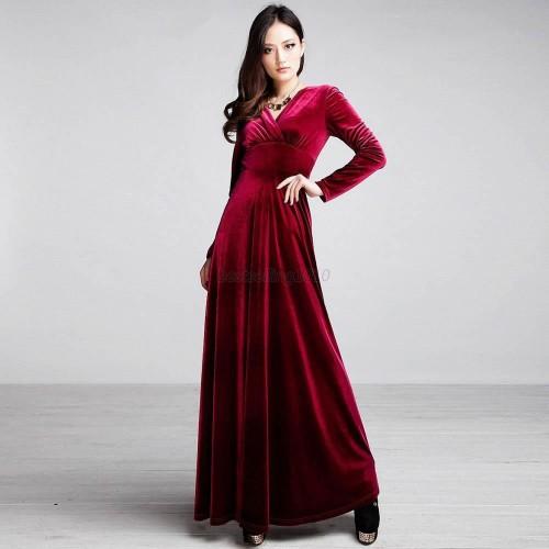 Velvet Long Sleeve Maxi Long Dress