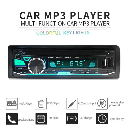 HEVXM Multifunction Car MP3 Radio Player With Color Lights