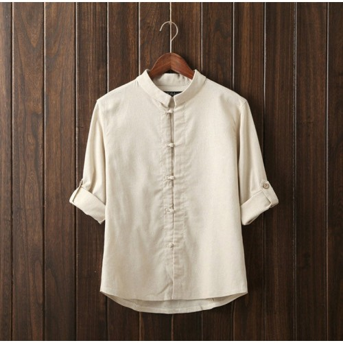 Linen Long Sleeve Mandarin Collar Shirt