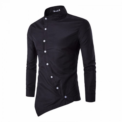 Irregular Button Designed Slim Long Sleeve Shirt