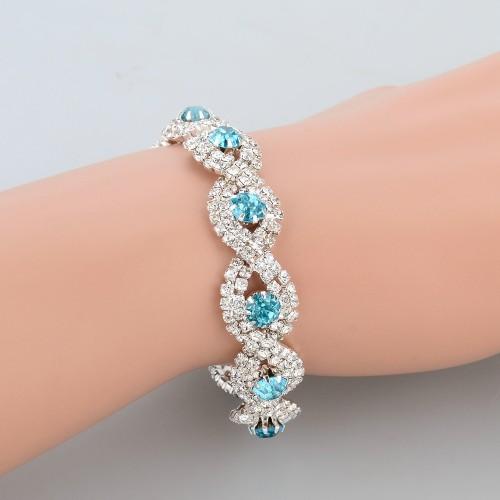 Luxury Austrian Crystal Bracelet With Blue Stones