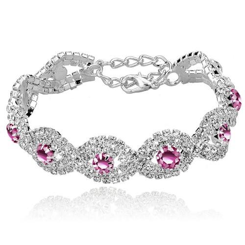 Luxury Austrian Crystal Bracelet With Pink Stones