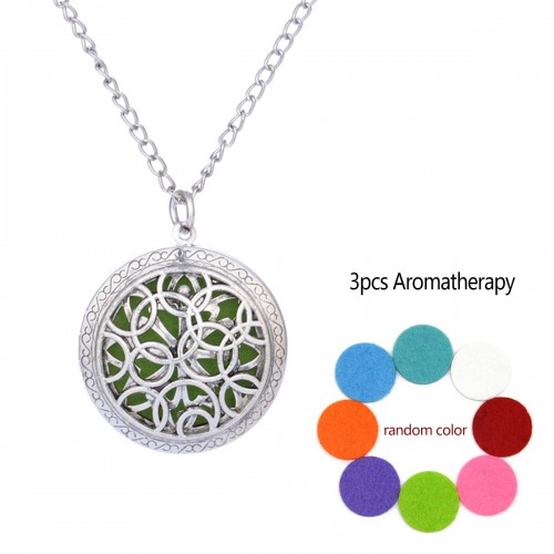 Circle Aromatherapy Locket Necklace Vintage Hollow Diffuser Essential Oil Perfume Locket Pendant Necklace