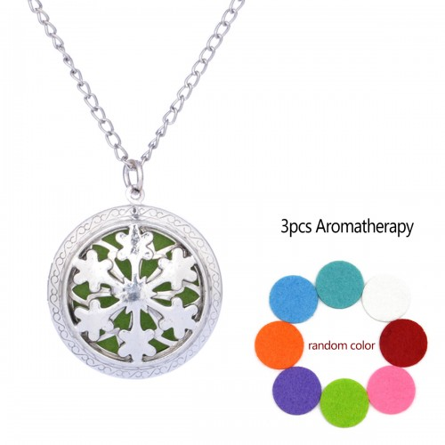 Tree Aromatherapy Locket Necklace Vintage Hollow Diffuser Essential Oil Perfume Locket Pendant Necklace