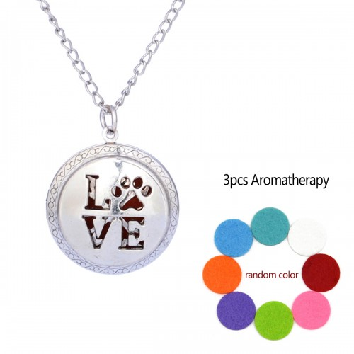 Love Aromatherapy Locket Necklace Vintage Hollow Diffuser Essential Oil Perfume Locket Pendant Necklace