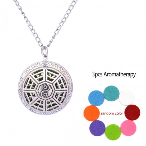Grill Aromatherapy Locket Necklace Vintage Hollow Diffuser Essential Oil Perfume Locket Pendant Necklace