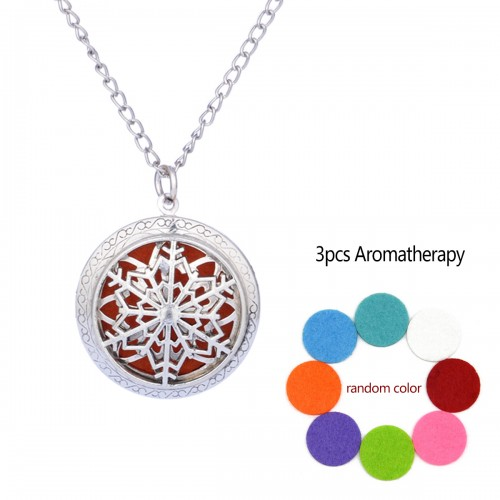 Snow Aromatherapy Locket Necklace Vintage Hollow Diffuser Essential Oil Perfume Locket Pendant Necklace