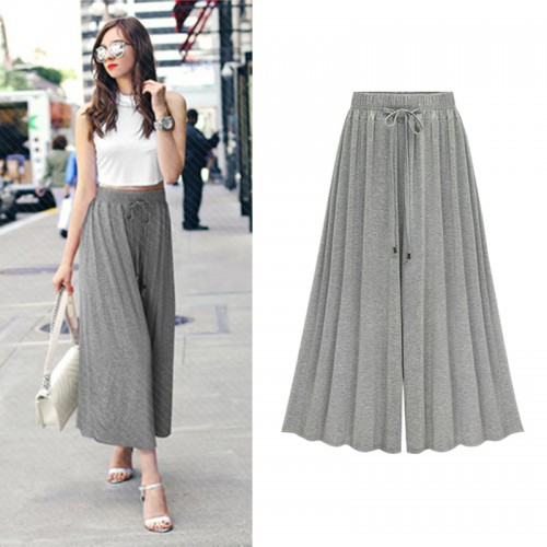 Wide leg Pants Woman Casual  High Loose  Pleated  Trousers