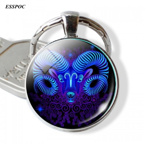12 Constellation Leo Virgo Key Chains Glass Cabochon Pendant Zodiac Sign Key Rings Silver Bag Pendant