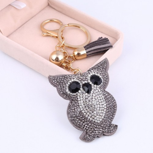 Car Keyring Full Crystal Key Holder Gold Key Chain Cute Owl Leather Tassel Keychain Pendant porte