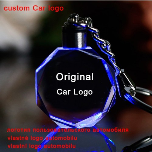 Crystal Car Logo Key Chain Laser Engraved Colorful LED Light Key Ring Glass Keychain Decoration