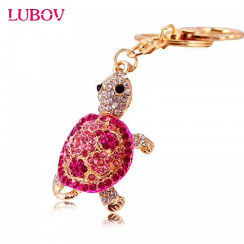 Cute Trinket Gold color Rhinestone Tortoise Keychains Metal Car Keyring Fashion Animal Turtle Women Handbag