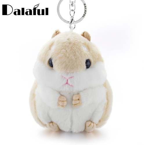 Dalaful Mini Hamster Keyrings Keychains Faux Rabbit Fur Pompom Fluffy Trinkets Car Handbag Pendant Key Chains