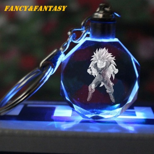 Fancy Fantasy Light Up Dragon Ball Super Saiyan Crystal Keyring Son Goku Vegeta Trunks Buu Kame