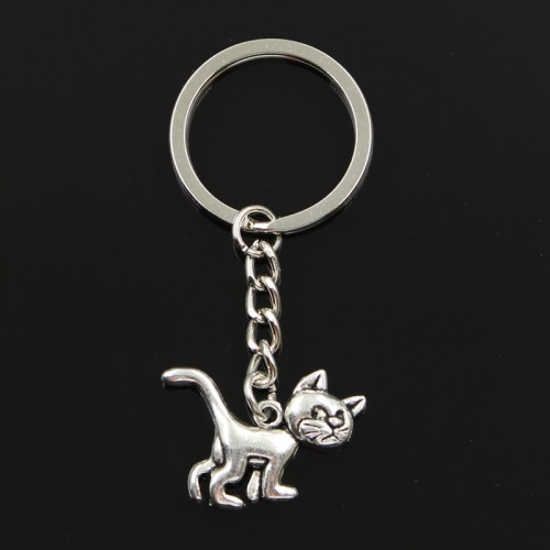 Fashion 30mm Key Ring Metal Key Chain Keychain Jewelry Antique Silver Plated cat 30 22mm Pendant