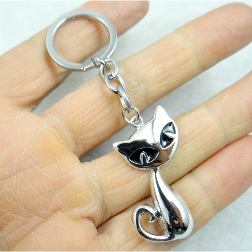 Fashion Creative Key Chain Ring Keyring Silver Cat Keychain Pendant Tool Men Car