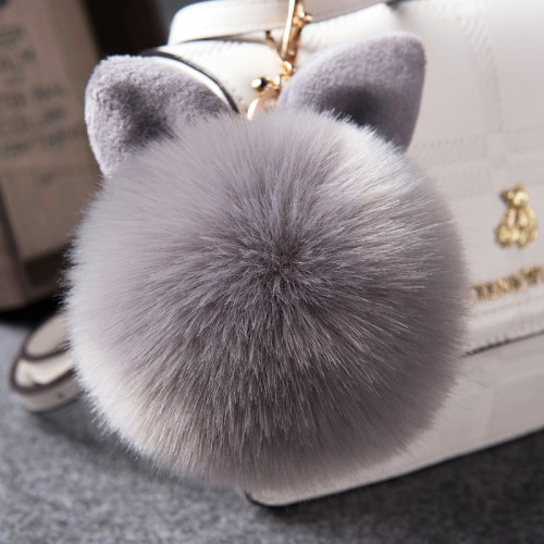 Fur Pom Keychains Fake Rabbit fur ball key chain porte clef pompom de fourrure