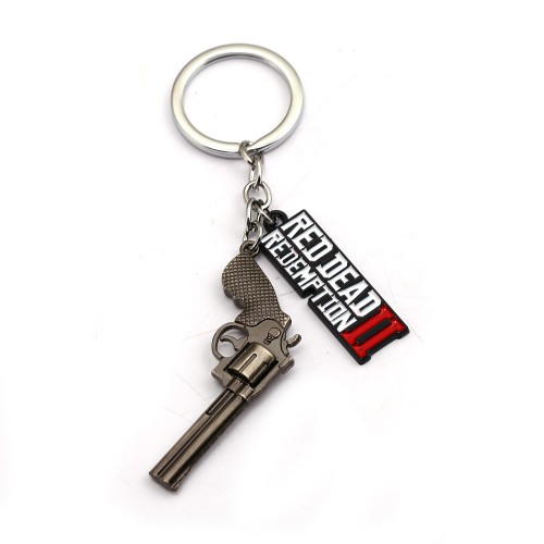 Red Dead Redemption 2 Keychain Metal Key Ring Chain 3D Gun For Men Car