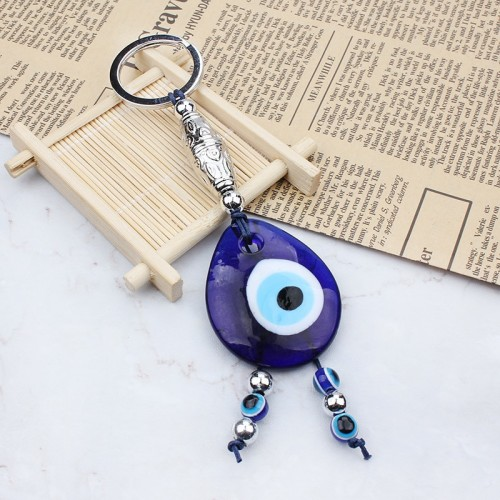 evil eye braided tassel keyring colorful string eyes keychains for women and men